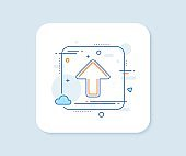 Upload arrow line icon. Direction Arrowhead. Vector