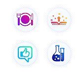 Clean skin, Restaurant food and Like icons set. Chemistry lab sign. Cosmetics, Cutlery, Thumbs up. Laboratory. Vector