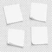 Collection of different white sheets. papers note with curled corner isolated on transperent background. Vector illustration