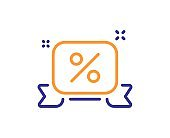 Discounts ribbon line icon. Sale offer sign. Vector