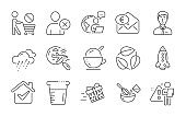 Ice cream, Leaves and Rainy weather icons set. Delete user, Rocket and Cooking beaker signs. Vector