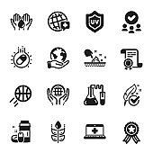 Set of Healthcare icons, such as Uv protection, Wash hands, World medicine. Vector
