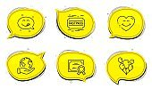 Smile face, Yummy smile and Balloons icons set. Fastpass sign. Love heart, Emoticon, Air balloons. Vector
