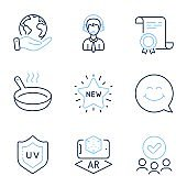 Shipping support, New star and Uv protection icons set. Frying pan, Augmented reality and Smile face signs. Vector