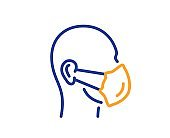 Medical mask line icon. Safety breathing respiratory mask sign. Vector