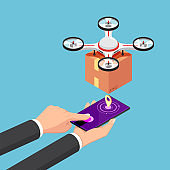 isometric businessman use smartphone to call and control delivery drone with package