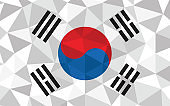 Low poly South Korea flag vector illustration. Triangular South Korean flag graphic. South Korea country flag is a symbol of independence.