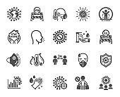 Coronavirus icons. Medical protective mask, washing hands hygiene, eu shut borders. Covid-19 pandemic. Vector