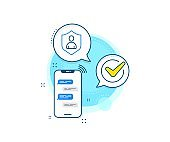 User Protection line icon. Profile Avatar sign. Vector