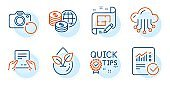 Receive file, Cloud storage and Checked calculation icons set. Vector