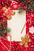 Christmas decorations on the wooden background. Top view