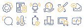 Set of Business icons, such as Microphone, New mail, Messenger. Vector