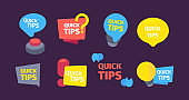 Quick set tips. Useful hints and tips color banners red button question mark speed idea bulb modern information solution. Useful vector banners flat style.