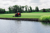 mowing lawn on golf course