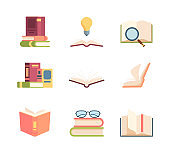 Textbook set knowledge. Stack of books folded, open encyclopedia scrolling pages information idea magnifying glass for font, bookmark in novel. Vector clipart style.