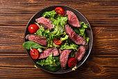 Salad with grilled beef medium roast