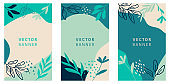 Abstract floral vector modern stories background. Hand-drawn leaves template.