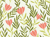 Floral graphic vector illustration. Trendy seamless pattern with hand drawn flowers. Modern repeatable background.