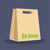go green shopping bag isolated on white background