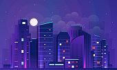 Futuristic Night city  illustration