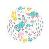 Poster with  ocean creatures - fish, cat snorkeling, turtles, jellyfish, corals, seaweed