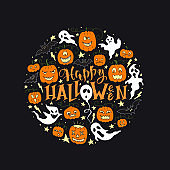 Vector Happy Halloween poster with lettering and pumpkins