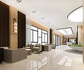 3d rendering grand luxury hotel reception hall and sales condominium center