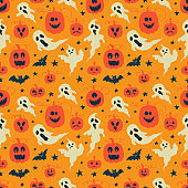 Vector Halloween seamless pattern with ghost and pumpkin