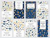 Set of card templates in Scandinavian and Folk Art style