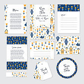 Gentle wedding cards template in Scandinavian and Folk Art style