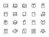 minimal book line icon set