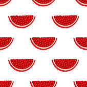 Seamless pattern with fresh bright exotic chunk pomegranate with leaves on white background. Summer fruits for healthy lifestyle. Organic fruit. Vector illustration for any design.