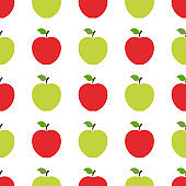 Seamless pattern with red and green whole apples on white background. Organic fruit. Flat style. Vector illustration for design, web, wrapping paper, fabric, wallpaper.