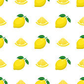 Seamless pattern with fresh bright exotic whole and cut slice lemon fruit on white background. Summer fruits for healthy lifestyle. Organic fruit. Cartoon style. Vector illustration for any design.