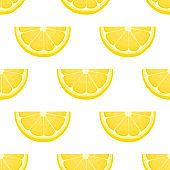 Seamless pattern with fresh bright exotic cut slice lemon fruit on white background. Summer fruits for healthy lifestyle. Organic fruit. Cartoon style. Vector illustration for any design.
