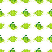 Seamless pattern with fresh bright lime juice splash burst isolated on white background. Summer fruit juice. Cartoon style. Vector illustration for any design.