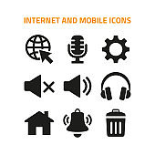 Internet and mobile icons set on white background.