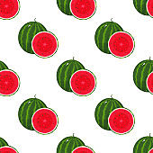 Seamless pattern with fresh whole and cut slice watermelon fruit on white background. Summer fruits for healthy lifestyle. Organic fruit. Cartoon style. Vector illustration for any design.