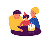 Muslim family with kids. Happy birthday party. People in traditional clothing, woman in hijab. Vector illustration