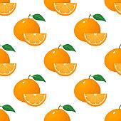 Seamless pattern with fresh bright exotic whole and slice tangerine or mandarin isolated on white background. Summer fruits for healthy lifestyle. Organic fruit. Vector illustration for any design.