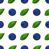 Seamless pattern with fresh bright exotic blueberries on white background. Summer fruits for healthy lifestyle. Organic fruit. Cartoon style. Vector illustration for any design.