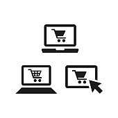 Online shopping icons on white background.