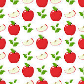 Seamless pattern with red whole slice apples and leaves on white background. Organic fruit. Cartoon style. Vector illustration for design, web, wrapping paper, fabric, wallpaper.