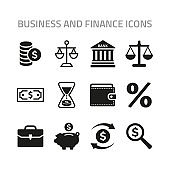 Business and finance icons set on white background.