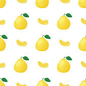 Seamless pattern with fresh bright exotic whole and piece pomelo fruit on white background. Summer fruits for healthy lifestyle. Organic fruit. Cartoon style. Vector illustration for any design.