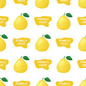Seamless pattern with fresh bright exotic whole and cut slice pomelo fruit on white background. Summer fruits for healthy lifestyle. Organic fruit. Cartoon style. Vector illustration for any design.