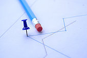 close up of financial chart and pen on table