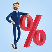 Cartoon character with the sign of progress. 3D illustration.