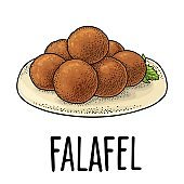 Falafel with sauce - dish middle eastern traditional food. Vector flat color icon isolated on white.
