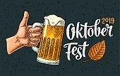 OktoberFest 2019 calligraphic handwriting lettering and vector vintage engraving beer
